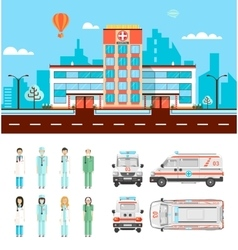 Street with hospital vector