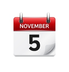 November 5 flat daily calendar icon Date vector image