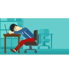 Man sleeping on workplace vector