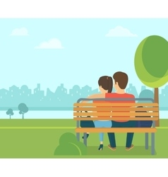 Couple outdoors in the park sitting on bench and vector