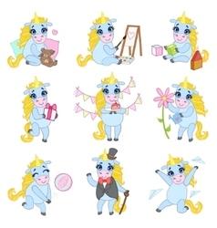 Sweet Unicorn Cartoon Set vector image