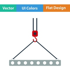 Flat design icon of slab hanged on crane hook vector