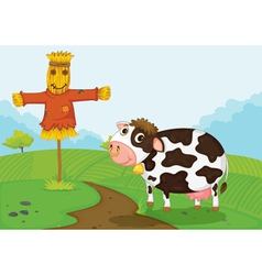 Cow at farm vector image