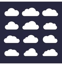 Cloud Icon Set on Dark Background vector image