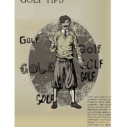 Golfing man old newspaper vector