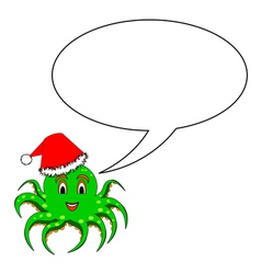 A funny Christmas octopus with a talking bubble vector image vector image