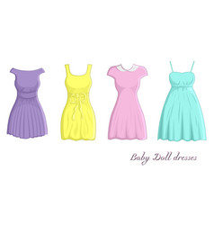 Baby doll dresses vector