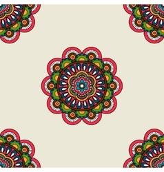 Boho doodle mandala seamless pattern vector