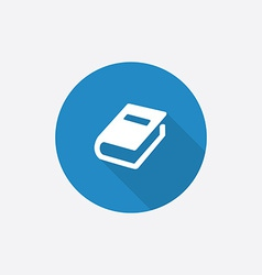 Book flat blue simple icon with long shadow vector