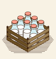 Bottle of milk image set vector