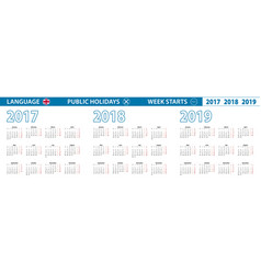 Calendar in english for 2017 2018 2019 vector