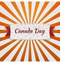 Canada day paper badge with text and ribbon vector