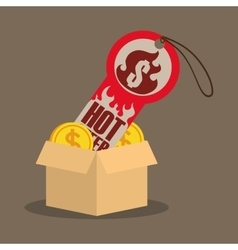Cardboard box coin money tag price hot offer vector