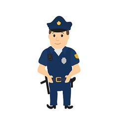 Cartoon policeman character on white background vector image vector image
