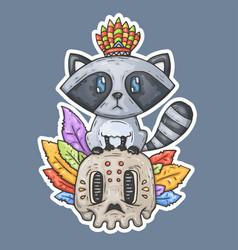 Cartoon raccoon sits on the skull vector