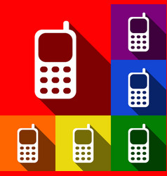 Cell phone sign set of icons with flat vector