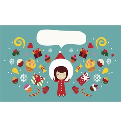 Christmas holiday design with cute girl vector image vector image