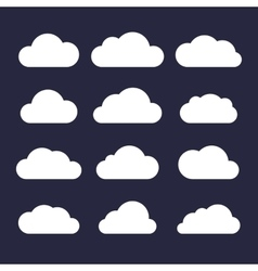 Cloud Icon Set on Dark Background vector image vector image