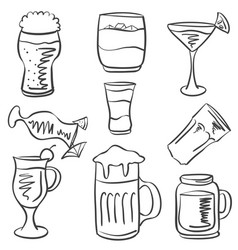 doodle of drink hand draw collection vector image