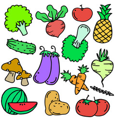Doodle of vegetable object set various vector