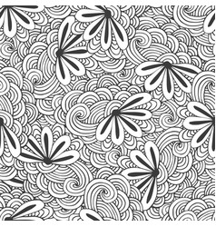 Doodle seamless waves pattern with flowers in vector