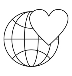 Earth world globe with heart icon outline style vector