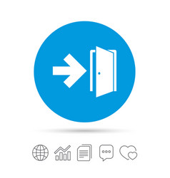 Emergency exit sign icon door with right arrow vector