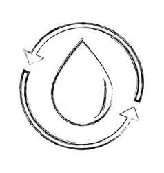 figure water drop with arrows around vector image vector image