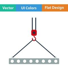 Flat design icon of slab hanged on crane hook vector