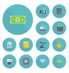 Flat icons verdict money money box and other vector