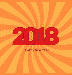 Happy new year 2018 label on orange background vector