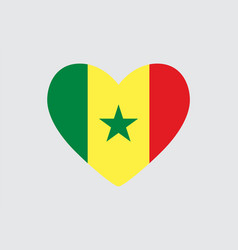 Heart in colors of the senegal flag vector
