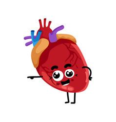 human heart cute cartoon character vector image