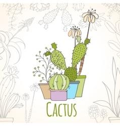 Invitation card of cactus in pots vector