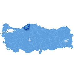 Map of turkey karabuk vector