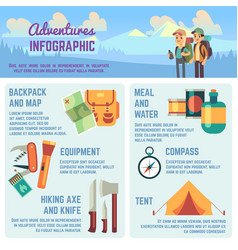 Outdoors adventure infographics with hiking vector