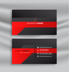 Red and black modern business card design vector
