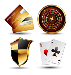 set of casino design elements vector image
