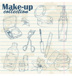 Set of make-up object collection on notebook paper vector image