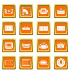 sport stadium icons set orange vector image vector image