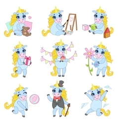Sweet Unicorn Cartoon Set vector image vector image
