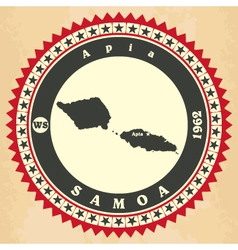 Vintage label-sticker cards of samoa vector