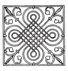 Wrought-iron square panel is a german renaissance vector