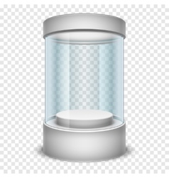 Empty glass shop cylinder showcase display box on vector