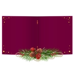 Red open Christmas card with fir branch garland vector image