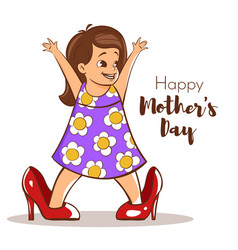 happy girl trying to wear her moms high heels vector image