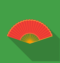 folding fan icon in flate style isolated on white vector image