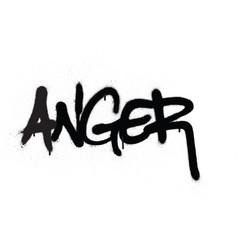Graffiti anger word sprayed in black over white vector