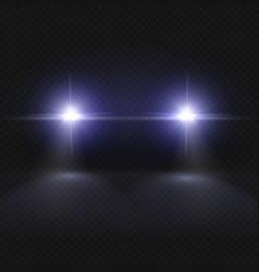 car headlights headlamp glowing effect vector image