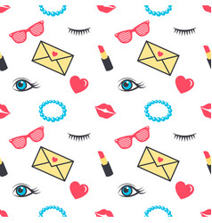 Seamless pattern with colorful stickers for girls vector
